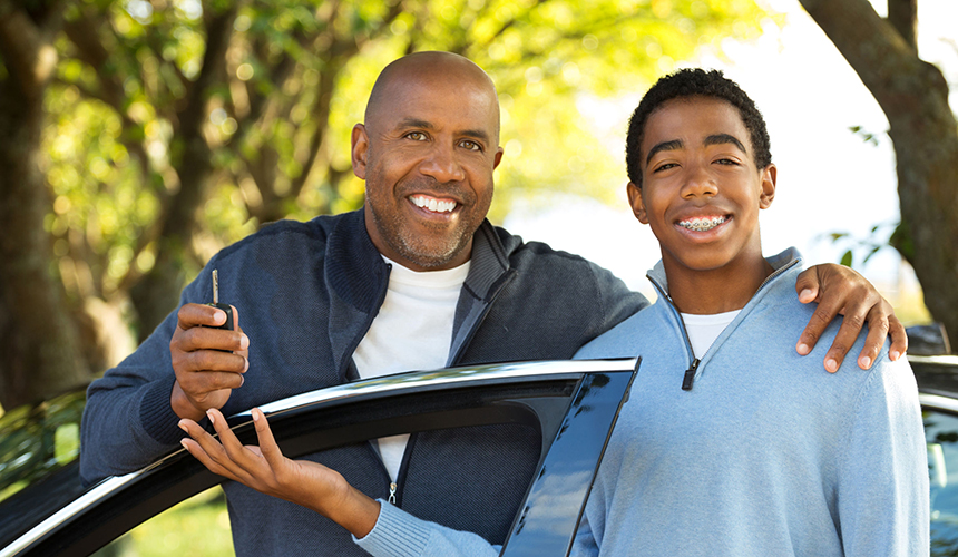 Father and Son with car auto insurance Dundee, NY